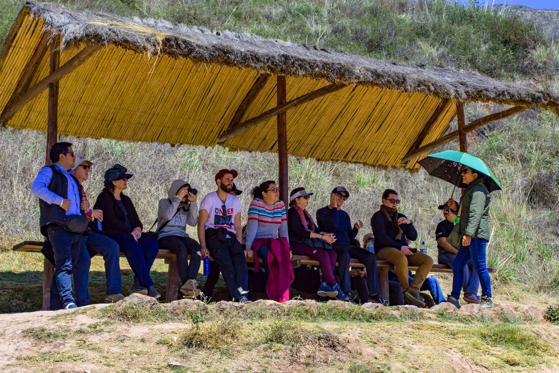 Eco Tour Guide Cusco explaining in Pisac